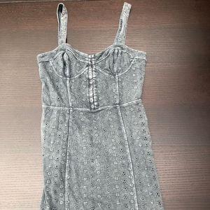 Free People Grey Eyelet Dress